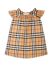 Burberry Girl Ruffle Sleeves Vintage Check Dress Beige Tan Size 24 Mths Nwt $190