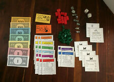 Vintage 1961 Monopoly Game Pieces Movers Tokens Money Cards Hotels Houses Dice