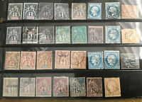 FRENCH COLONIAL COLLECTION - 31 EARLY ISSUED STAMPS 10 Colonies 1850s-1892