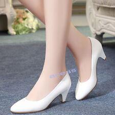 New Women Ladies OL Office Comfort Work Shoes Mid Heels Stewardess Hostess Shoes