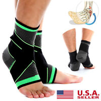 Copper Ankle Support Brace Compression Sleeve Bandage - Sports Foot Pain Relief