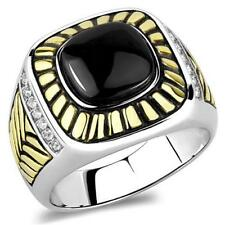 Two Tone Gold Ip Ring Tk3294 Men's Synthetic Jet Black Onyx Stone Stainless