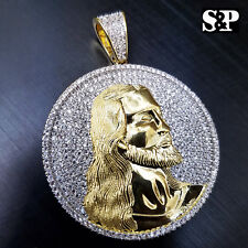 HIP HOP ICED OUT 14K GOLD PLATED BRASS MICRO PAVE JESUS FACE MEDALLION PENDANT