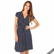 Womens Polka Dot Print Twist Knot Front V Neck Mini Swing Dress Party Summer Navy (cap Sleeve) 14