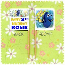 20 PERSONALISED FINDING DORY CUP CAKE FLAG Birthday Party Topper Decoration Pick