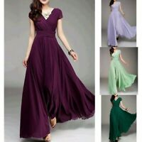 Womens Chiffon Long Formal Prom Evening Dress Party V-Neck Short Sleeve Cocktail