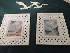 Homco Seashore Print  White Lattice Frame Seagulls Beach House Decor