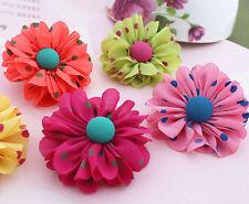 12pcs Polka Dot Fabric chiffon flower DIY Kids supplies Hair Accessories