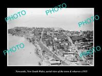 OLD LARGE HISTORIC PHOTO OF NEWCASTLE NSW, AERIAL VIEW OF TOWN & WHARF c1935