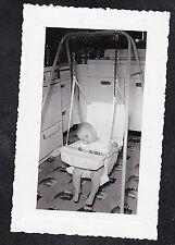 Vintage Antique Photograph Baby Sound Asleep in Swing in Retro Kitchen
