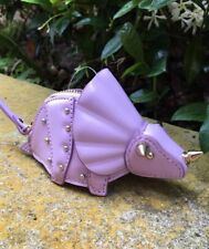 "KATE SPADE NY ""WHIMSIES"" 3-D TRICERATOPS LEATHER COIN PURSE BAG CHARM FOB, NWT"