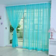 Blue Door Window Curtain Floral Tulle Voile Drape Panel Sheer Scarf Valances