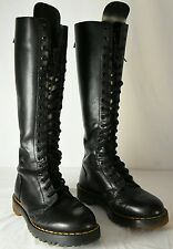 WOMENS DR MARTENS KNEE HIGH 20 EYELET BLACK LEATHER BOOTS Size UK 4 US 6 ENGLND
