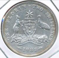 Australia 1933 Florin 2/- George V (Silver) - Fine/Very Fine