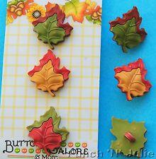 3 x hojas de arce-caída amigos Hoja De Otoño Bosque Canadá Novedad Craft Botones