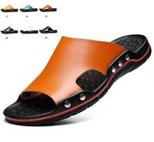 Mens Plus Size Casual Leather Sandals Summer Beach Shoes Anti-slip Slippers Flat