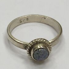 INTERESTING .925 STERLING SILVER BLUE LAPIS RING SIZE 5 1/2