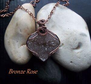 Handmade OOAK amethyst druzy heart necklace