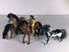 SCHLEICH WILD WEST YOUNG SIOUX BOY INDIAN ON A HORSE FIGURE TOY, FOUR HORSE LOT