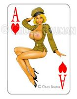 BOMBER GIRL BUSTY BLONDE SEXY SALUTE pin-up playing card style sticker decal R