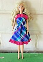 Disney Barbie Doll Princess Long Blond Curls Hair Grey Eyes Dress Earrings