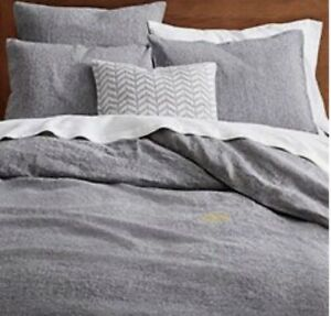 West Elm Duvet Cover Cotton Flannel Grey 92x 88 Inches, Full/queen