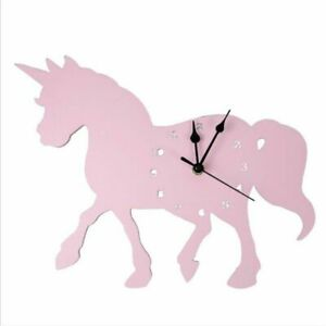 Nordic Wooden Elephant Unicorn Wall Clock Hanging Nursery Decor Props Clock