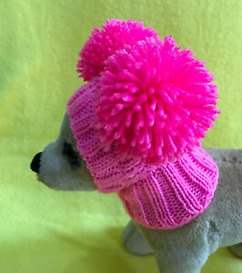 Pet Clothes Apparel Knit Pink  Sweater / Hat with Big Pom Poms for Dog