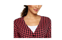 Joan Rivers Houndstooth Long Sleeve Boyfriend Cardigan Size L Black/Coral Color
