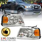 Headlights Assembly Fit For 04-08 Ford F-150 F150 Chrome Housing Clear Side Pair  for sale