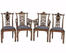 English Chinese Chippendale Chairs 19th Cent Red Silk Price Increase Coming!