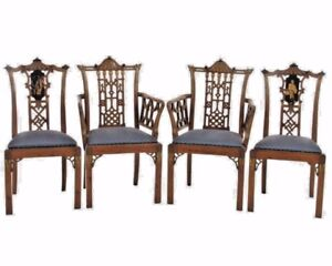 English Chinese Chippendale Chairs 19th Century TULIPWOOD NEW RED SILK SEATS!!