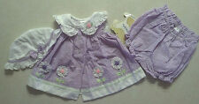 NWT Adorable Girl's Size 3-6 M 3 Piece Set Purple Floral Dress, Bloomer & Hat