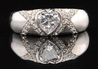 Echt 585er Weiß Gold 1,50 Karat Hinreißend Herz Form Solitär Jahrestag Ring