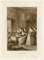Antique Print-SISTER JEANNE-CAT-NUN-La Fontaine-1882