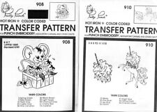 2 Pretty Punch Iron Transfer Patterns Punch Embroidery 910 Unicorn 908 Mouse