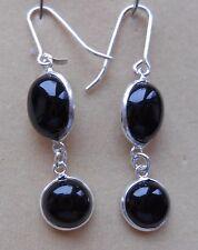 Hallmarked Sterling Silver Sri Lankan Onyx Dangle Drop Earrings (E20/3) (NEW)