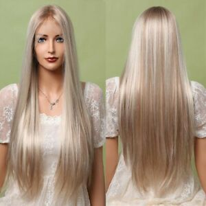 Blonde Brown Mixed Lace Front Wigs Long Straight Natural Silk Synthetic Hair