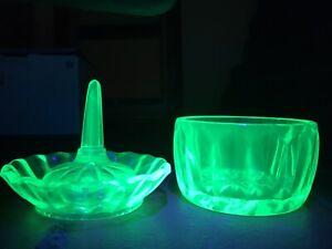 Uranium Glass Bedroom Set Ring Holder Bowl Vintage Green UV  Glow Vaseline