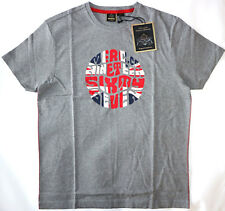 MERC MENS UNION JACK TEXT PRINT TEE SHIRT IN GREY MARL SIZE M NWT