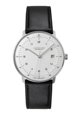 Junghans 027/4700.00 Men's Matte Silver Dial Leather Strap Max Bill 38mm Watch
