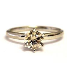 14k white gold .91ct I2 Brown round diamond engagement ring 2.4g estate