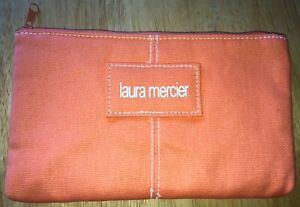"""NEW LAURA MERCIER CANVAS ZIPPETED MAKEUP BAG POUCH W/ NYLON/POLY LINER 8"""" x 5"""""""
