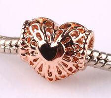 1p rose gold hollow love big hole spacer beads fit Charm European Bracelet AR525