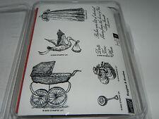 Stampin Up Buggies & Booties Vintage Baby Stamp Set NEW UM Stork Birth Rattle