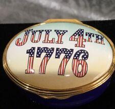 Vintage Halcyon Days Enamel *Jully 4th 1776* Trinket Box
