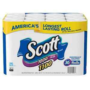 Scott 1100 Unscented Bath Tissue, 1-ply 36 Rolls = 1100 Sheets Per Roll Wrapped
