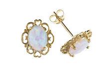 Opal Earrings Yellow Gold Studs Solid 9 Carat Heart Design Stud
