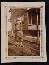 Vintage Antique Photograph Woman in Fur Coat and Flapper Hat
