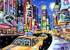 Raccoons New York City Lights Taxi Buildings Winter Snow Original ACEO Print